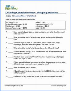 grade 3 math worksheets money canadian word problems 2529 grade 3 money worksheet shopping problems canadian currency k5 learning