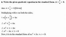 omtex classes write the given quadratic equation in the