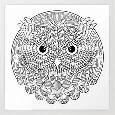 color your own owl mandala print by wendypiersallart