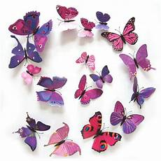 12pcs lot diy 3d butterflies wall stickers magnet pvc