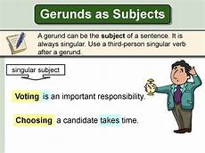 gerunds subject and object online presentation