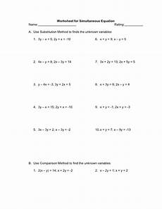 worksheet for simultaneous equation