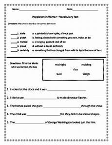 poppleton in winter vocabulary test by miss zees activities tpt