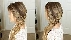 braided side swept prom hairstyle missy sue youtube
