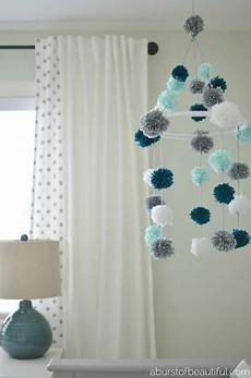 mobile baby basteln diy pom pom mobile a burst of beautiful