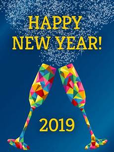 rainbow glass happy new year card 2019 birthday greeting cards by davia