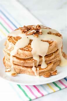 cinnamon pancakes recipe with a cinnamon roll glaze