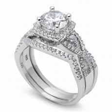 amazing 2ct fine cz wedding 3 ring 925 sterling silver ring sizes 4 11 ebay