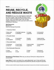 recycling worksheets middle school internet scavenger hunt world of recycle education world