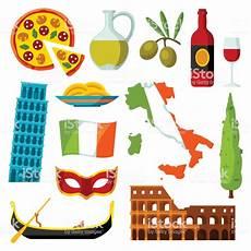 italia clipart italy icons set italian symbols and objects stock