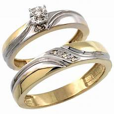 buy gold plated sterling silver 2 piece diamond wedding engagement ring set for him and her 4mm