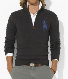 polo ralph mens big pony fitted cotton half zip