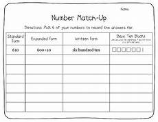 matching number forms expanded written standard and base ten blocks