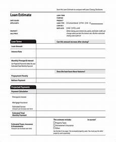 free 7 sle loan estimate forms in pdf ms word