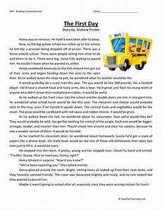 reading comprehension worksheet the first day