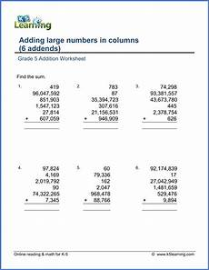 grade 5 math worksheet addition adding six large numbers k5 learning