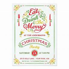 eat drink and be merry christmas party iii invitation card