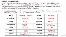 prepositional phrases french prepositions vocab list