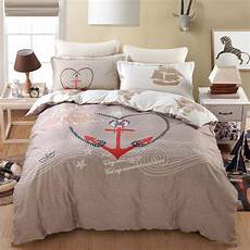 2017 sailing ship boat anchor design bedding queen size for children s home decor cotton bed