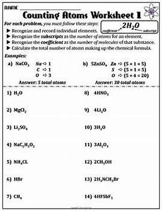 worksheet counting atoms version a chemistry worksheets