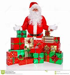 cadeau pere noel santa claus with gift wrapped presents stock image image