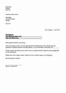 kündigungsschreiben wohnung mieter musterbrief k 252 ndigung mietvertrag word vorlage zum