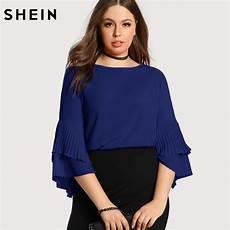 shein blue plus size blouse fashion navy blue casual