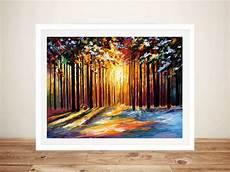 Kunstdrucke Auf Keilrahmen - sun of january leonid afremov woods canvas wall print