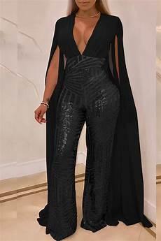 lovely trendy sequined black blending one jumpsuit