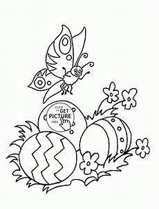 butterfly and easter eggs coloring page for coloring