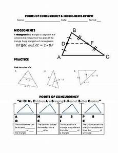 points of concurrency related to archaeology grade ten midsegments and points of concurrency review sheet by hall