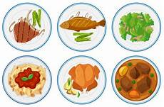 different types of food the plates illustration vector free download