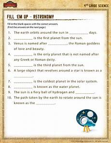 physical science worksheets for 4th grade 13012 fill em up astronomy view 4th grade science worksheet sod