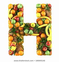 letter h made of fruits isolated on a white stock