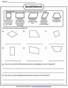 quadrilaterals worksheet geometry worksheets shapes worksheets worksheets