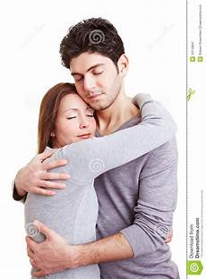 mann und frau embracing stock image image of content