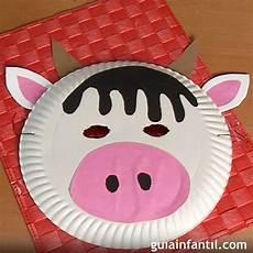 m 225 scara de vaca con plato de papel manualidades de carnaval