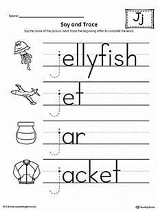 worksheets for letter j in preschool 23607 say and trace letter j beginning sound words worksheet myteachingstation