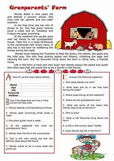 animal reading worksheets 14021 my grandparents farm reading worksheet free esl printable worksheets made by teachers