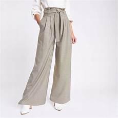 Pantalon Large Kaki 224 Carreaux Et Ceinture Kaki Femme