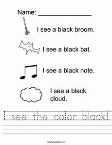 i see the color black worksheet twisty noodle