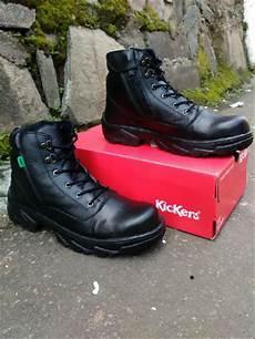 jual sepatu boots kickers safety ujung besi hitam full black ziper sleting kerja lapangan proyek