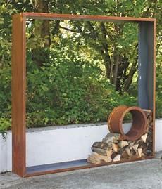 Cortenstahl Holzlege Fenster Rund Sichtschutz Garten