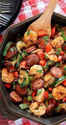 Low Carb Abendbrot - low carb dinners 20 minute shrimp and sausage skillet