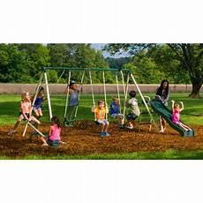 metal swing sets flyer backyard swingin metal swing set