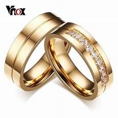 vnox 1 pair wedding rings for women men couple promise band stainless steel anniversary