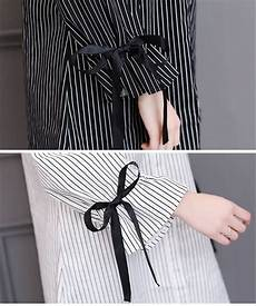 jual kemeja pita garis hitam putih blouse lengan panjang tunik korea import mudah di lapak
