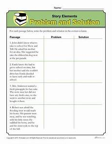story elements worksheet problem and solution story