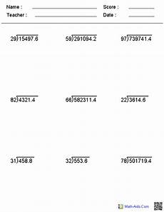 5th grade math worksheet division decimal division worksheets math aids