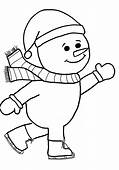 Skating Snowman Print Coloring Pages For Kids Free